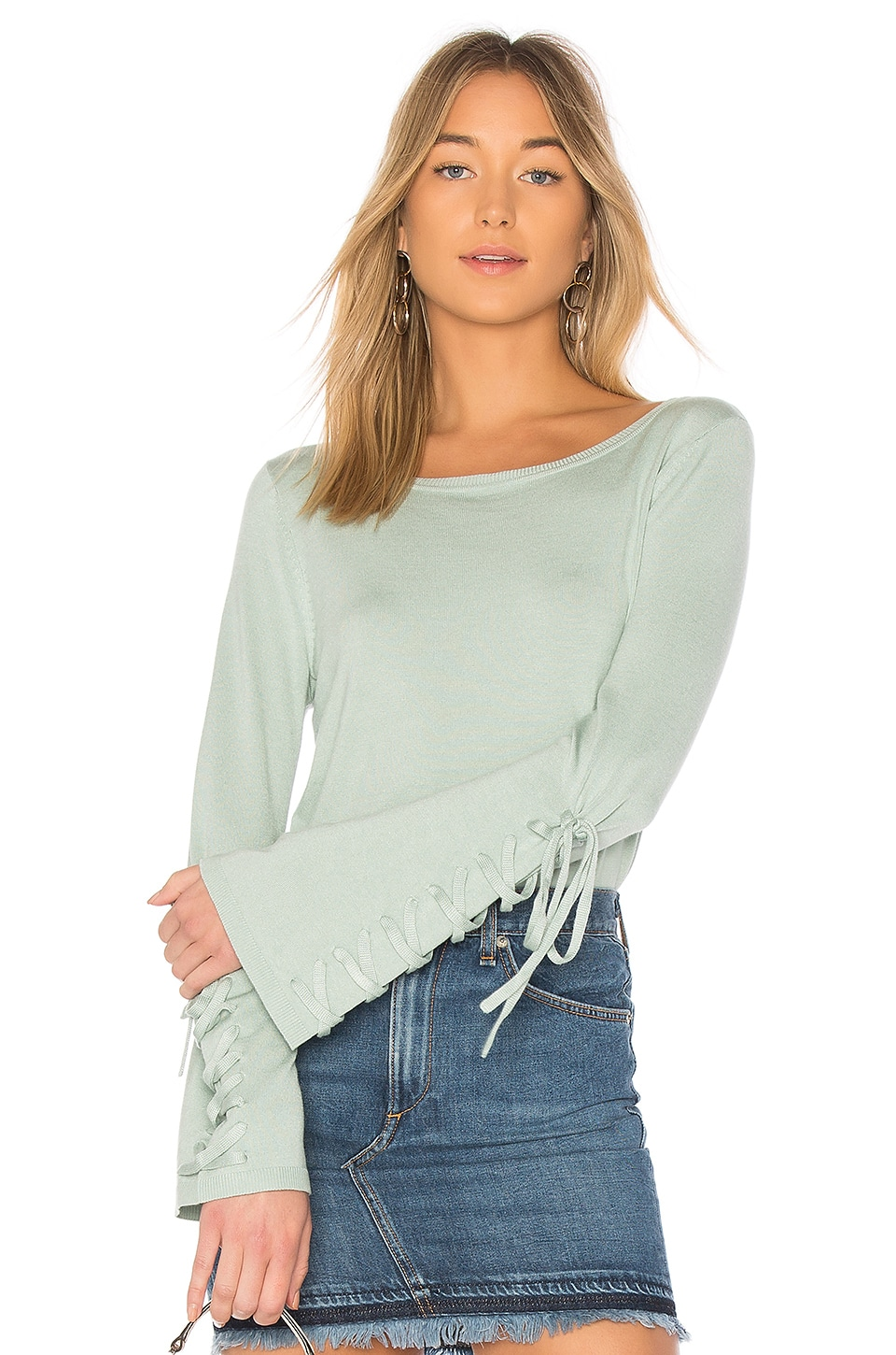 525 america Laced Sleeve Sweater in Duckegg Blue