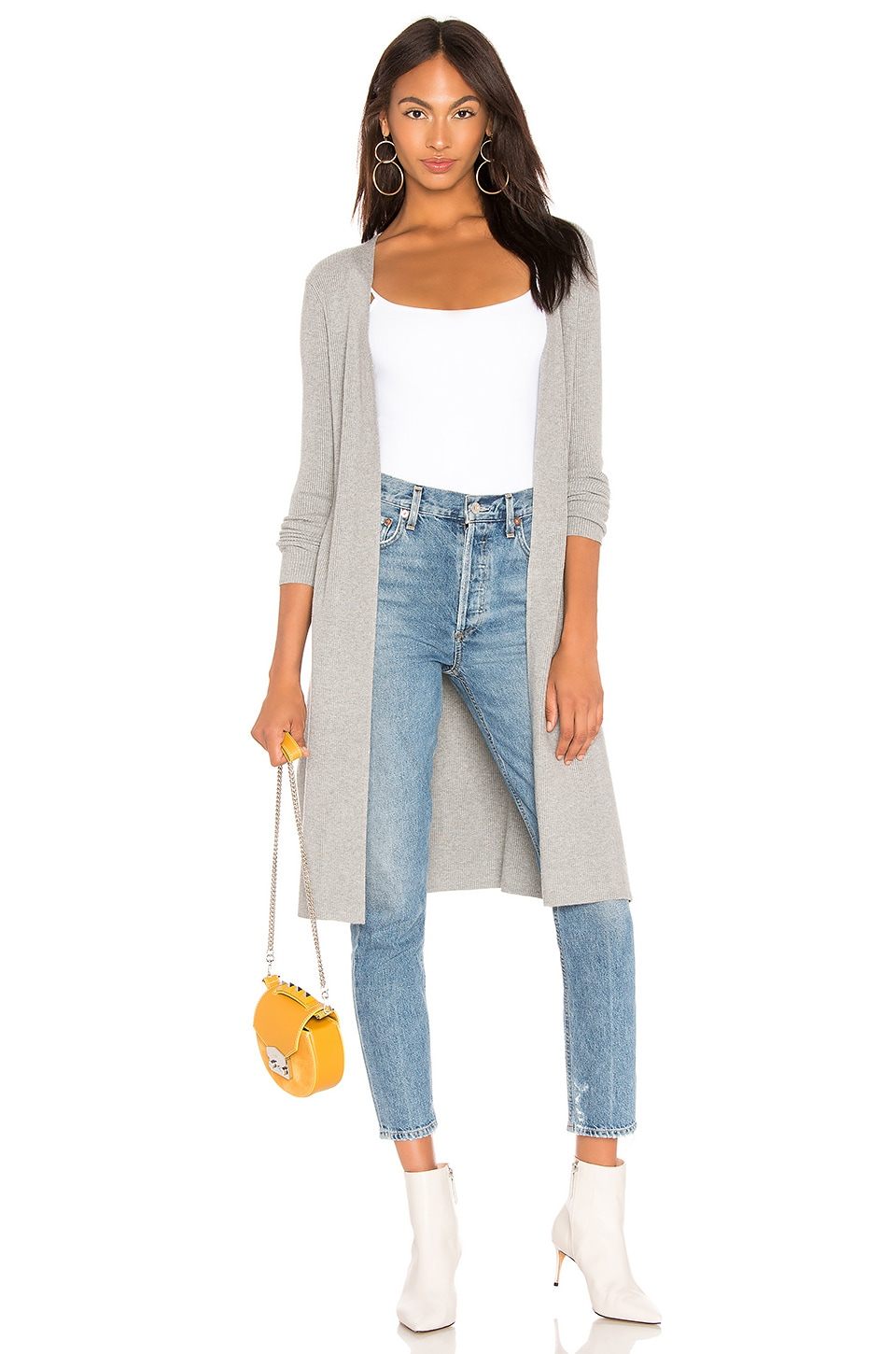 525 america Ribbed Open Cardigan in Heather Grey