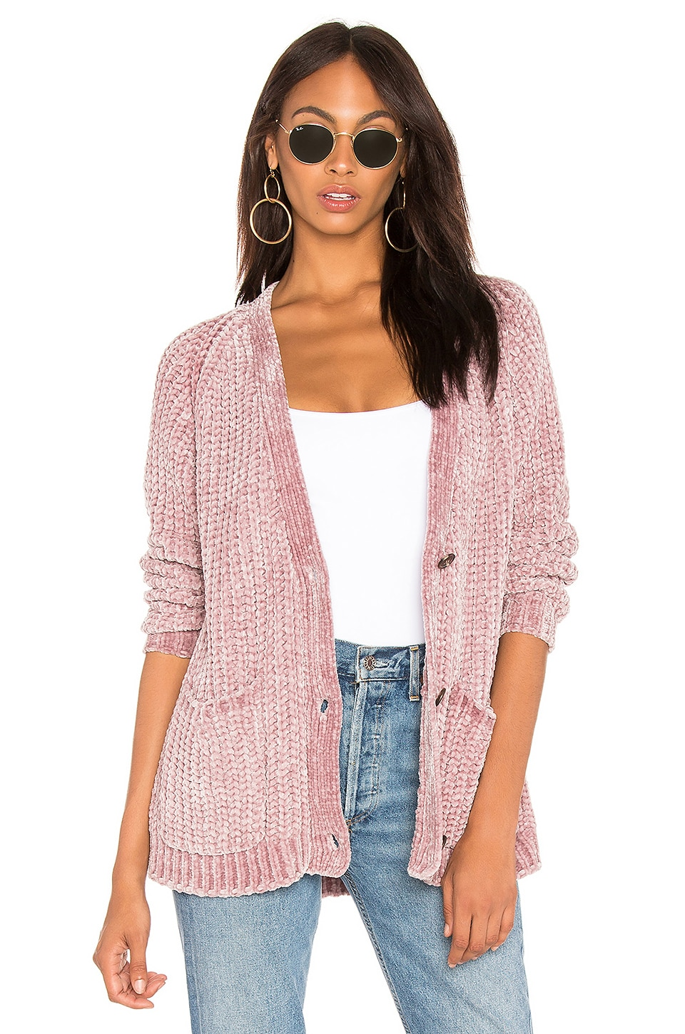 525 america Bouncy Chenille Cardigan in Silver Mauve