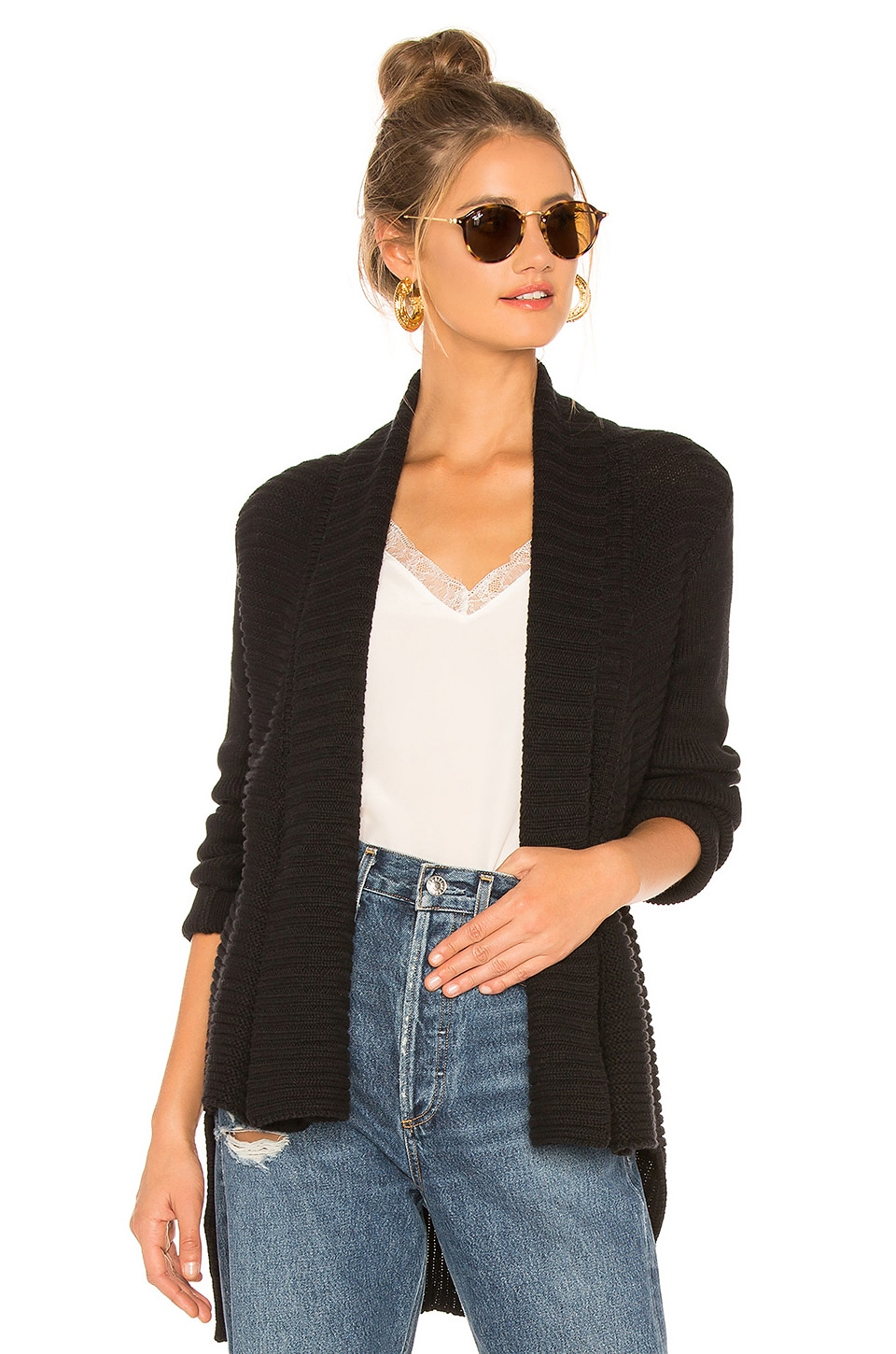 525 america Open Front Cardigan in Black