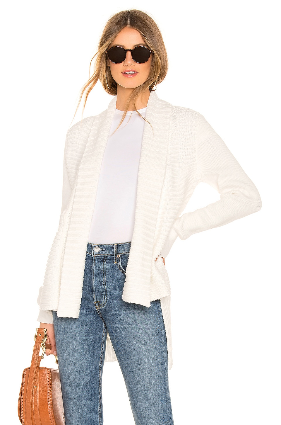 525 america Open Front Cardigan in Whitecap