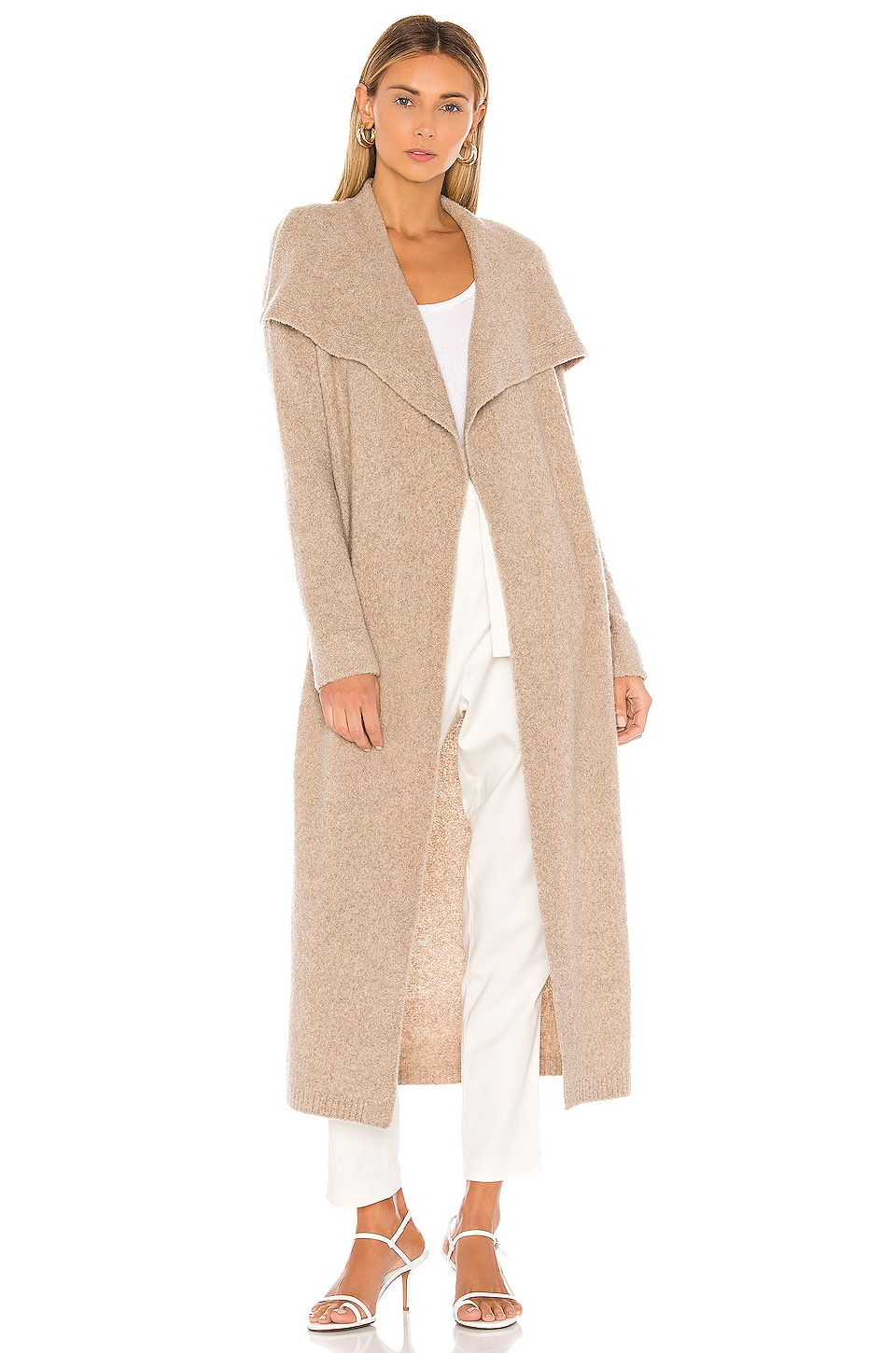 525 america Cashmere Belted Wrap Cardigan in Sandstone