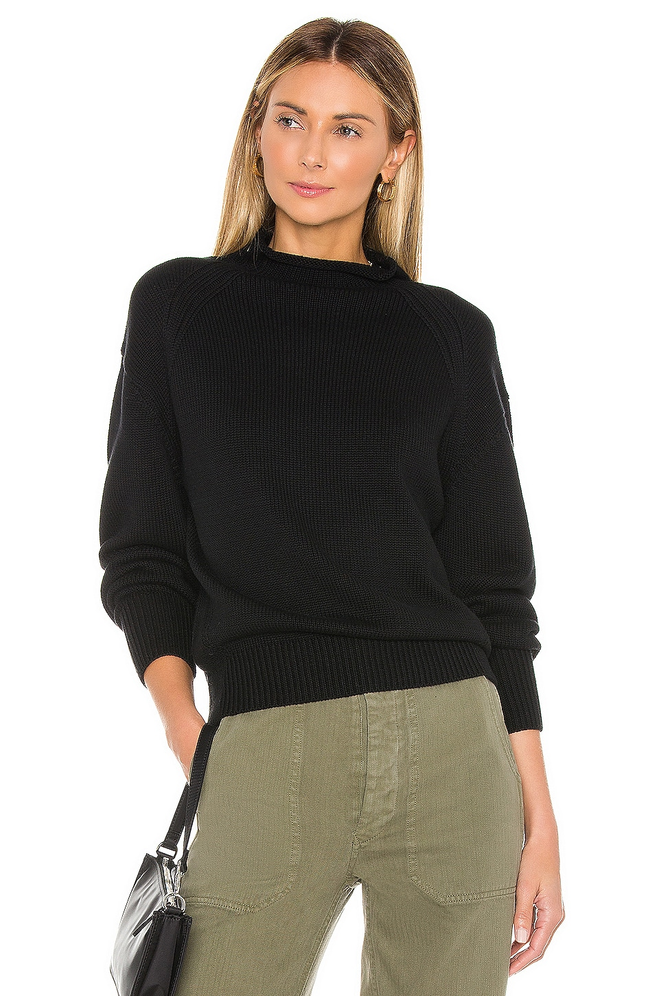 525 america Transfer Detail Mock Neck Sweater in Black
