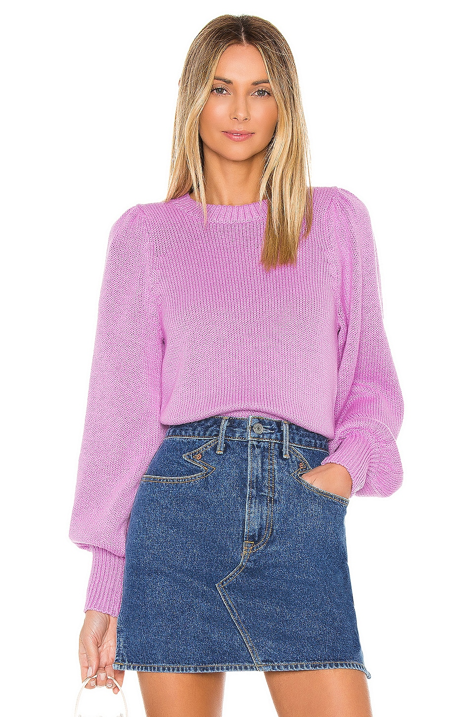 525 america Puff Sleeve Crew in Bright Orchid