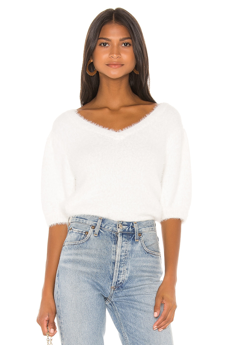 525 america Short Puff Sleeve Pullover in Winter White