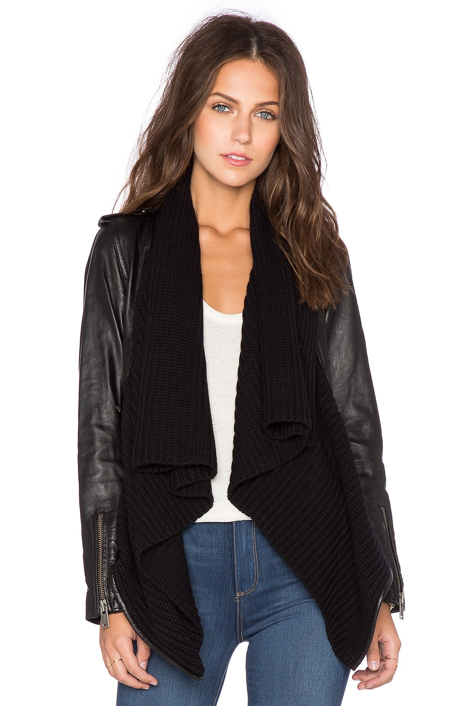 525 america Leather & Sweater Envelope Cardigan in Black | REVOLVE
