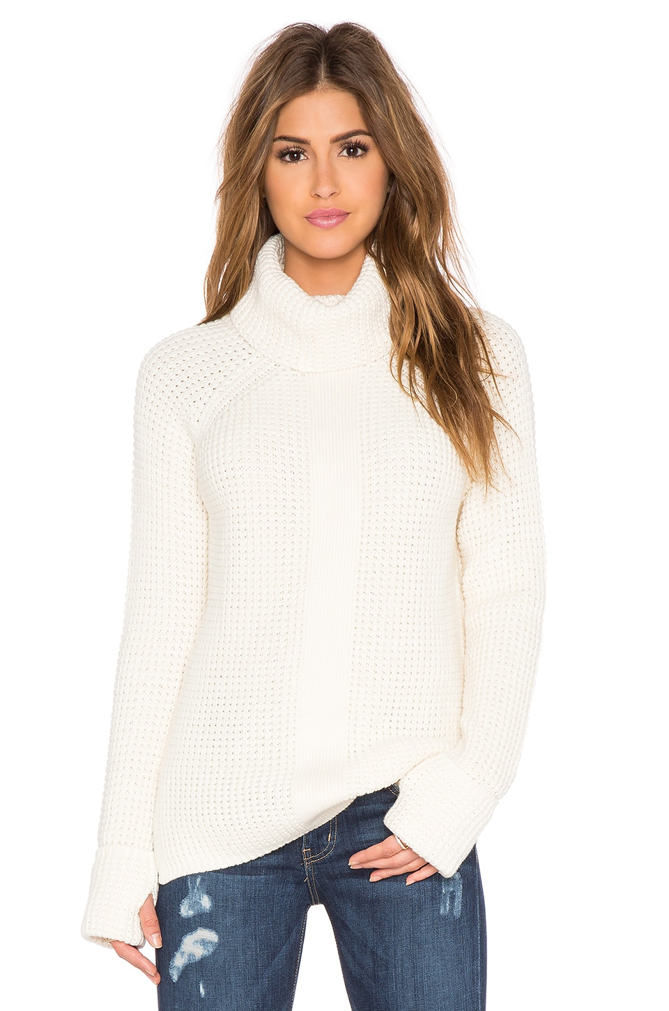 525 america Thumbhole Loose Turtleneck Sweater in White Cap | REVOLVE