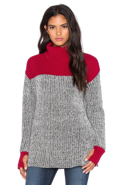 525 america Colorblock Tweed Turtleneck Sweater in Monroe Red Combo