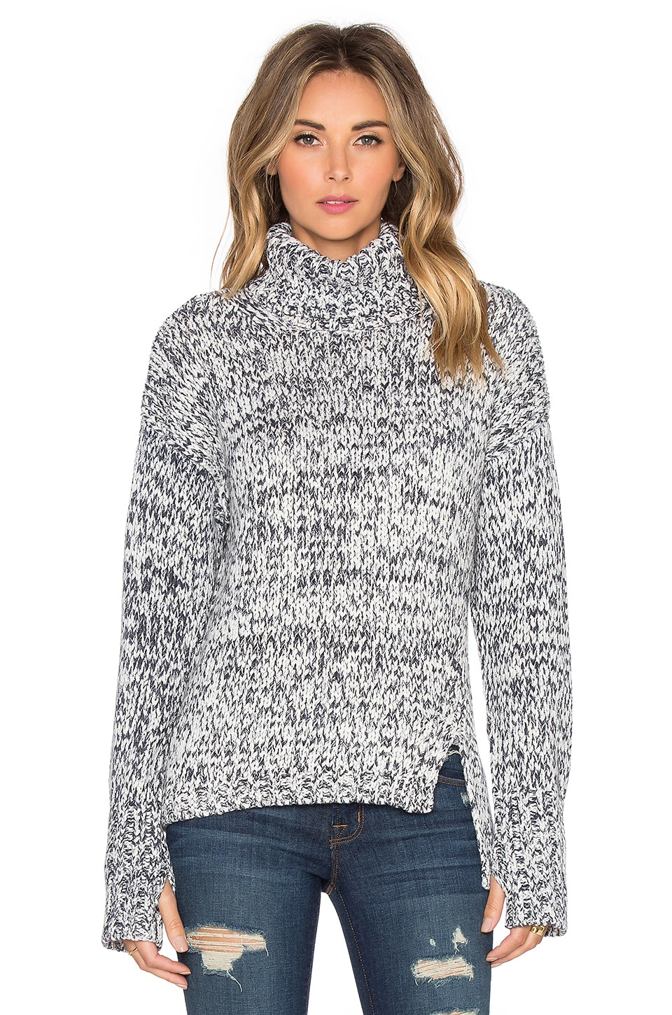 525 america Printed Tape Yarn Turtleneck Sweater in Black Combo