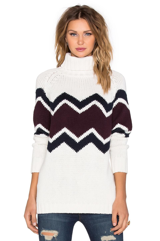 525 america Zig Zag Turtleneck Sweater in Ivory Combo