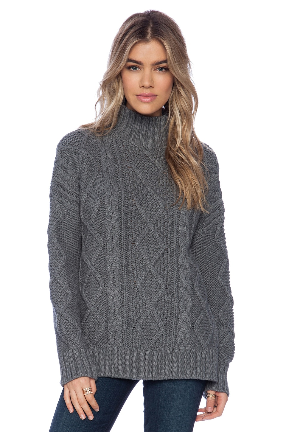 525 america Cable Sweater in Dark Grey