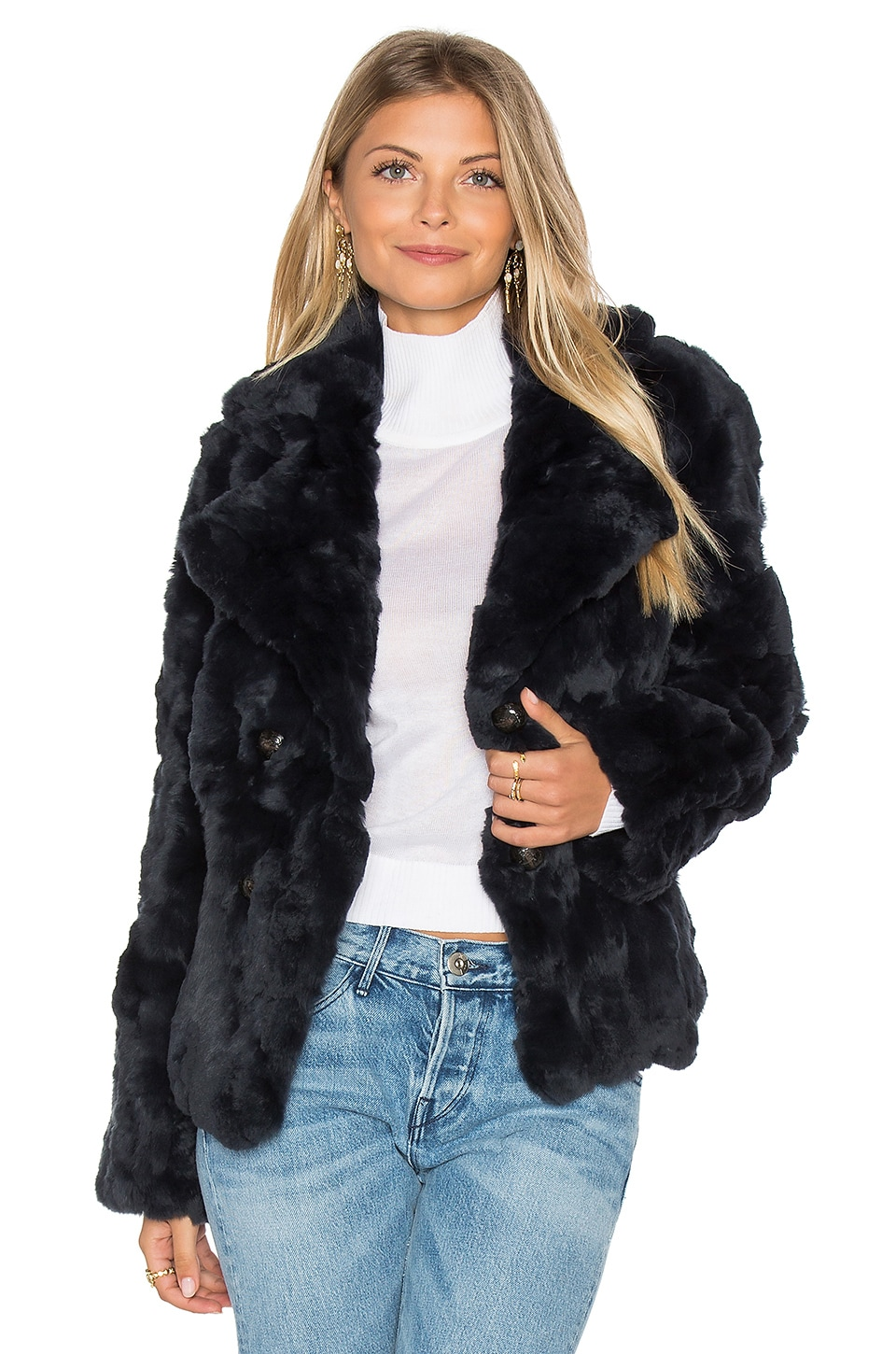Rabbit Fur Peacoat by 525 america