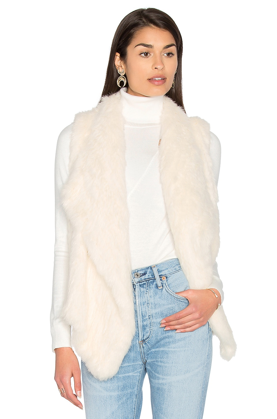 Drape Front Rabbit Fur Vest by 525 america