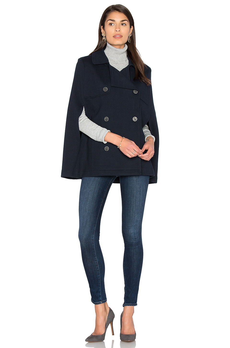 525 america Poncho Peacoat in Classic Navy