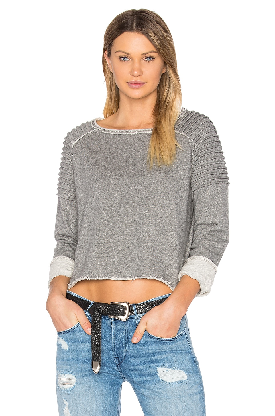 525 america Unfnished Edge Sweatshirt in Charcoal