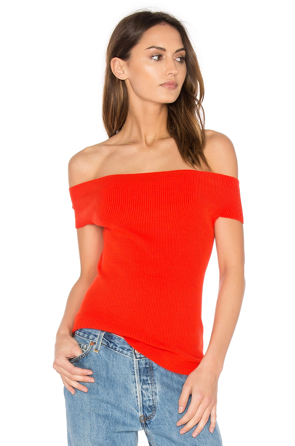Off Shoulder Ribbed Top by 525 america