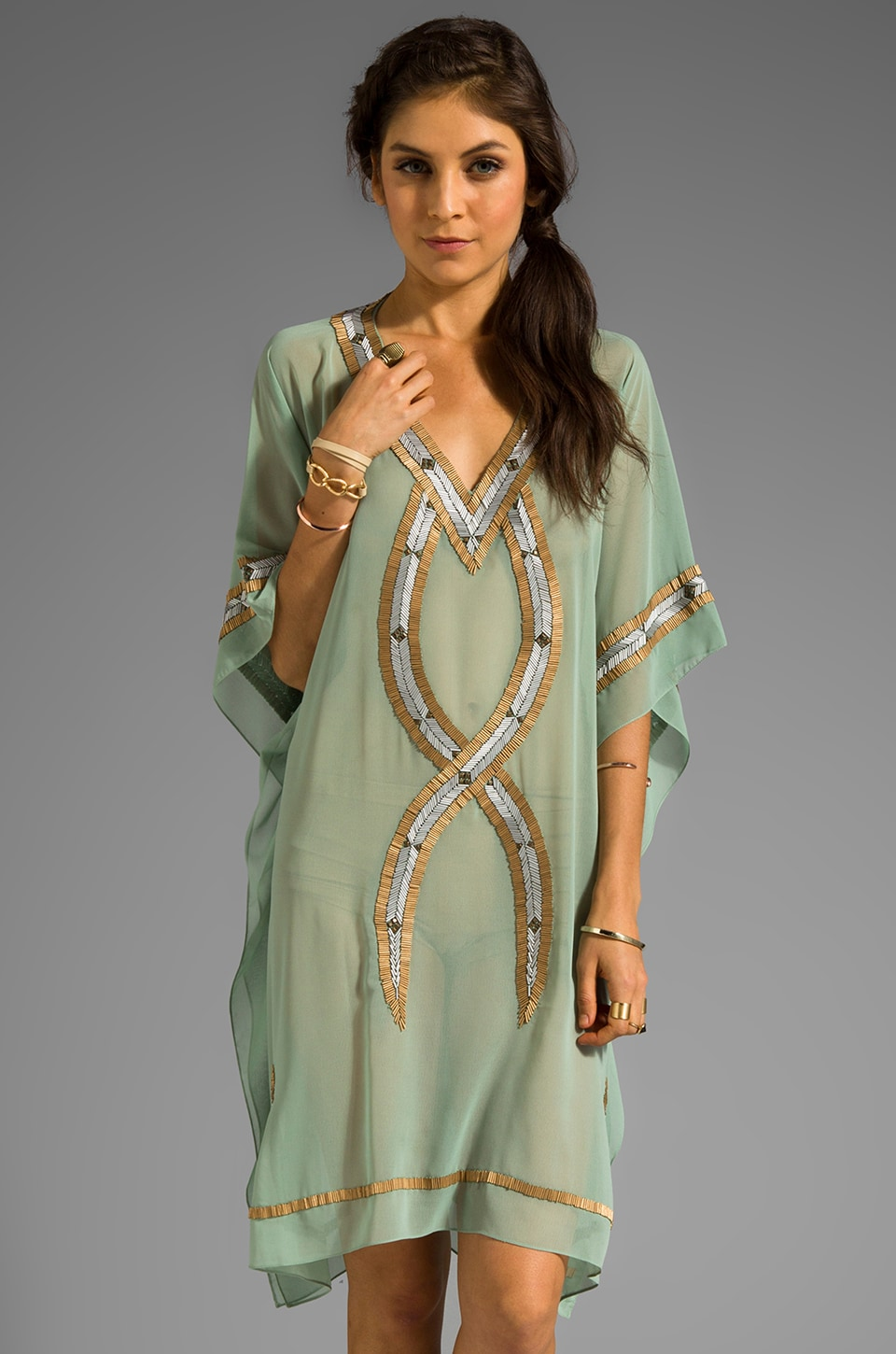 6 SHORE ROAD Kuna Beaded Kaftan in Bay