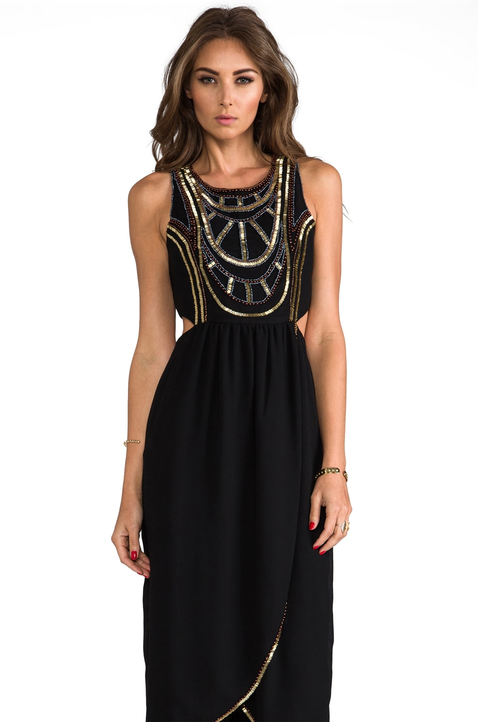 6 SHORE ROAD Psychedelic Embellished Maxi Dress in Midnight