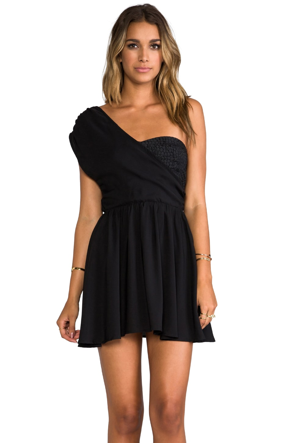 6 SHORE ROAD Wander Lust One Shoulder Mini Dress in Midnight