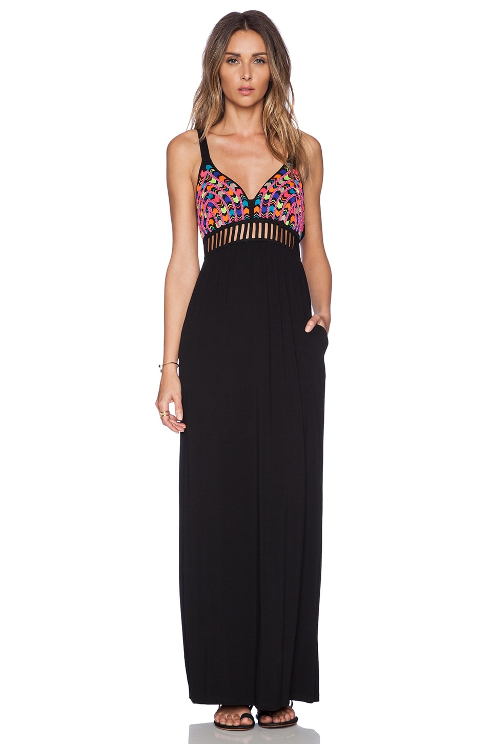 6 SHORE ROAD Ganges Beaded Ladder Maxi Dress in Black Rock