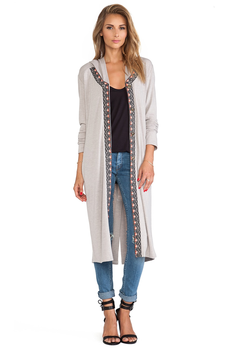 6 SHORE ROAD Tigress Hooded Cardigan in Winter White