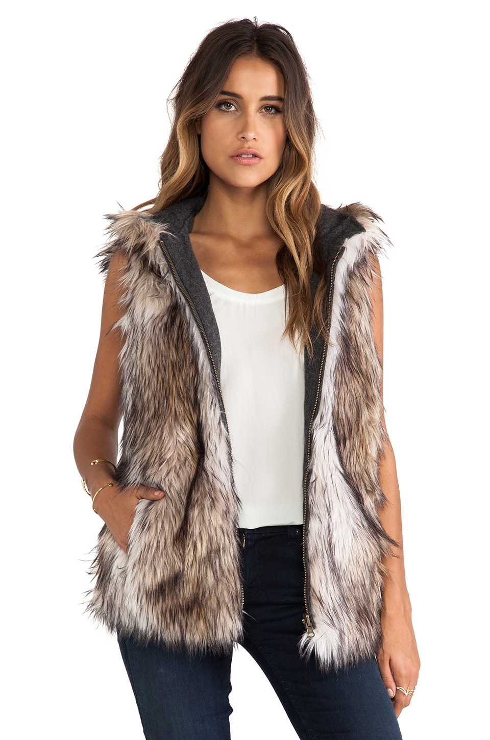 6 SHORE ROAD Hopi Reversible Faux Fur Vest in Rock