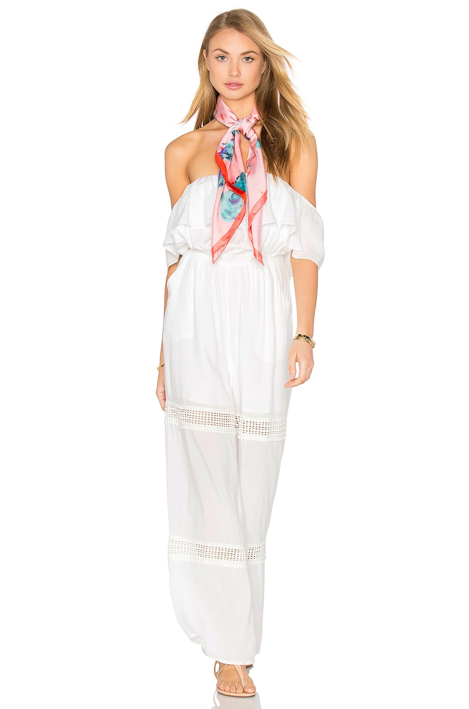 6 SHORE ROAD Paradise Lace Jumpsuit in Moonlight White