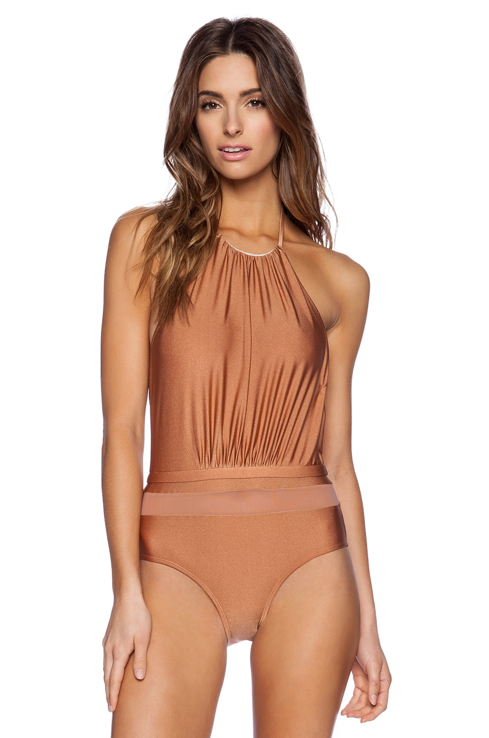 6 SHORE ROAD Frida's One Piece in Shimmer Copper