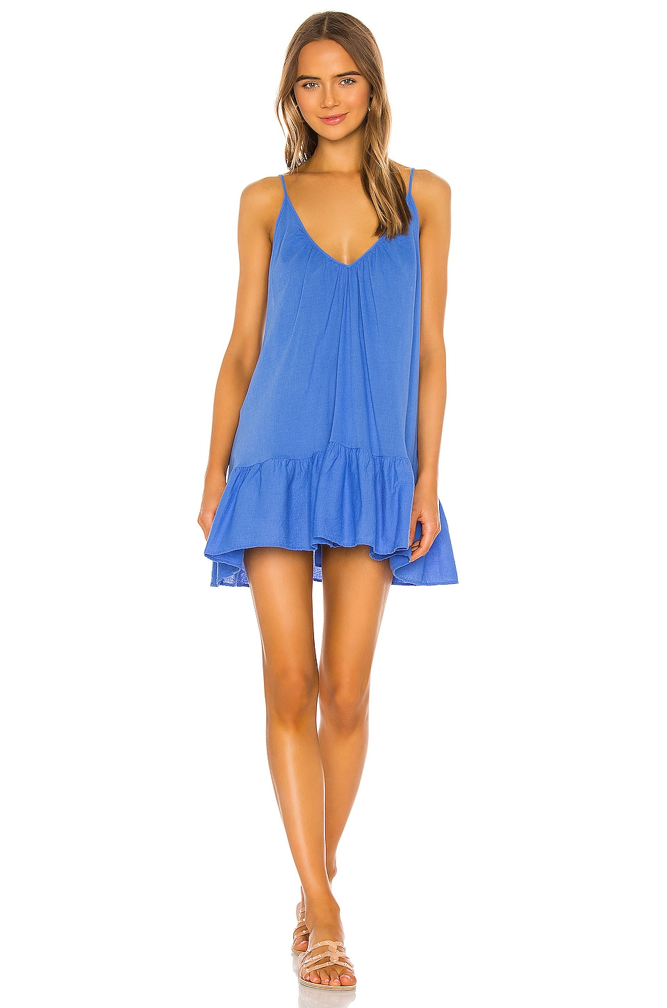 9 Seed St Tropez Ruffle Mini Dress in Moroccan Blue
