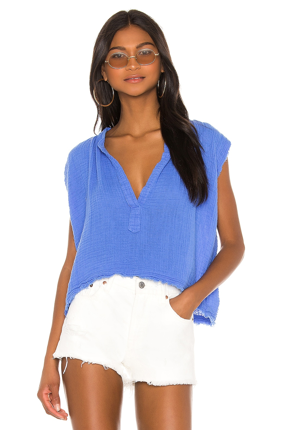 9 Seed Idyllwild Sleeveless Top in Moroccan Blue
