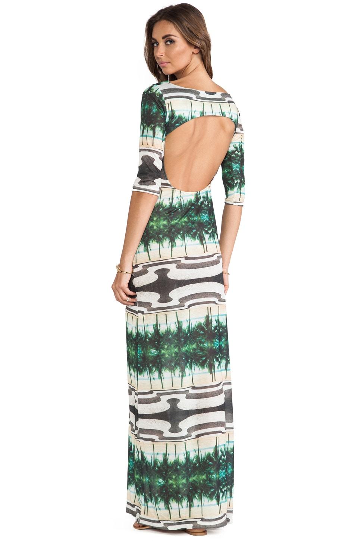 AGUADECOCO Printed Long Sleeve Maxi Dress in Copacabana