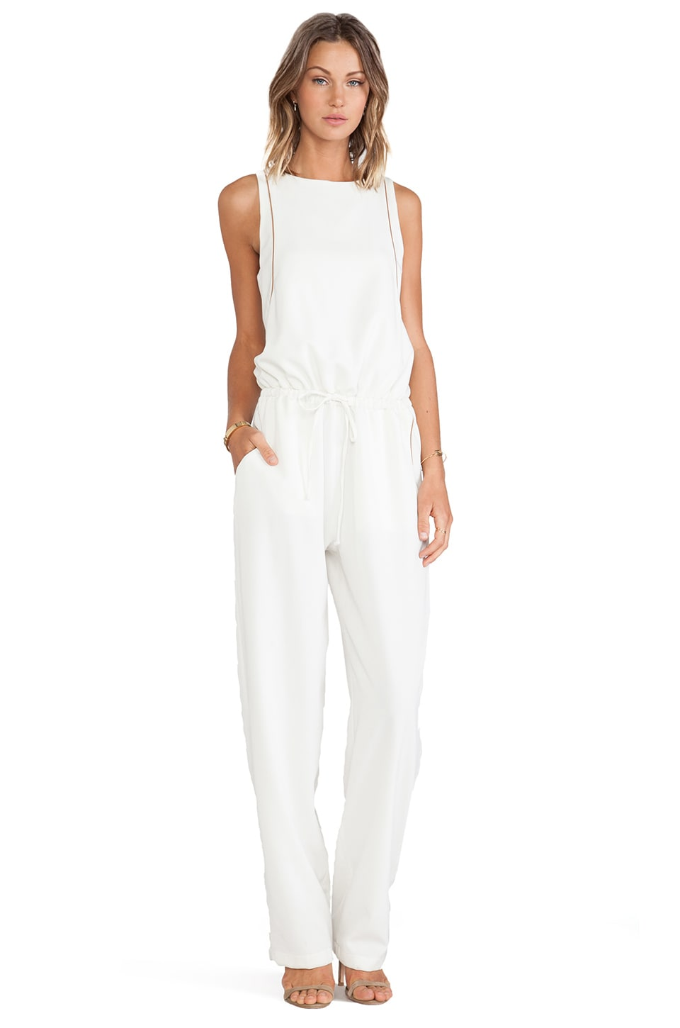 Assali Plink Jumpsuit with Brown Piping in Winter White