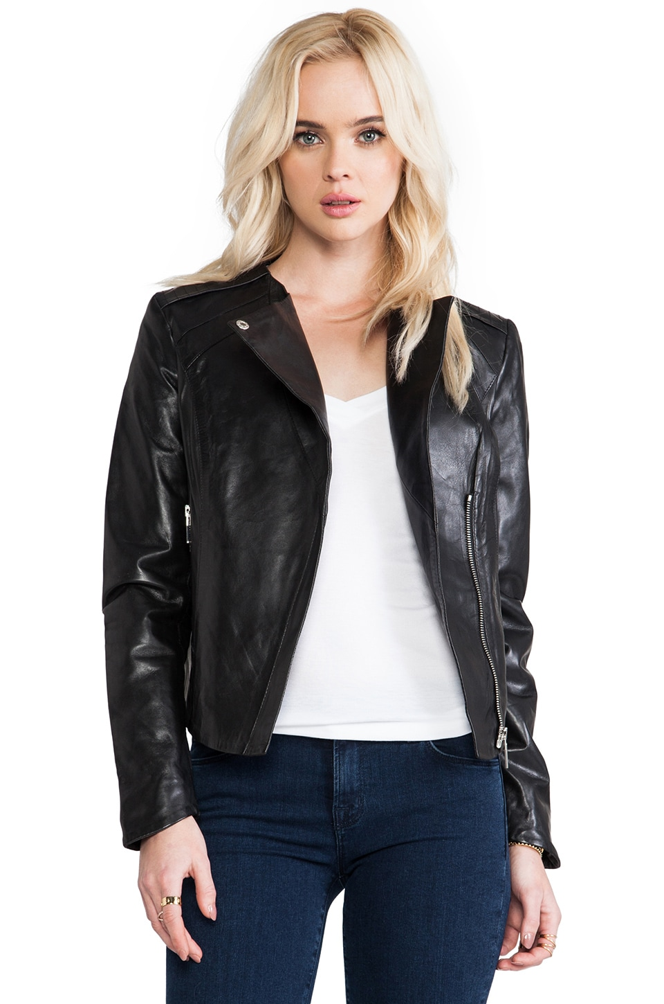 AB Drape Collar Leather Biker Jacket in Black