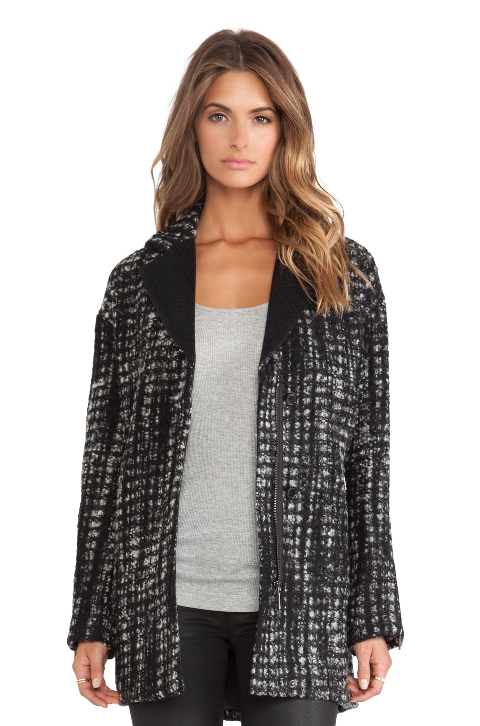 AB Briana Herringbone Jacket in Black & White