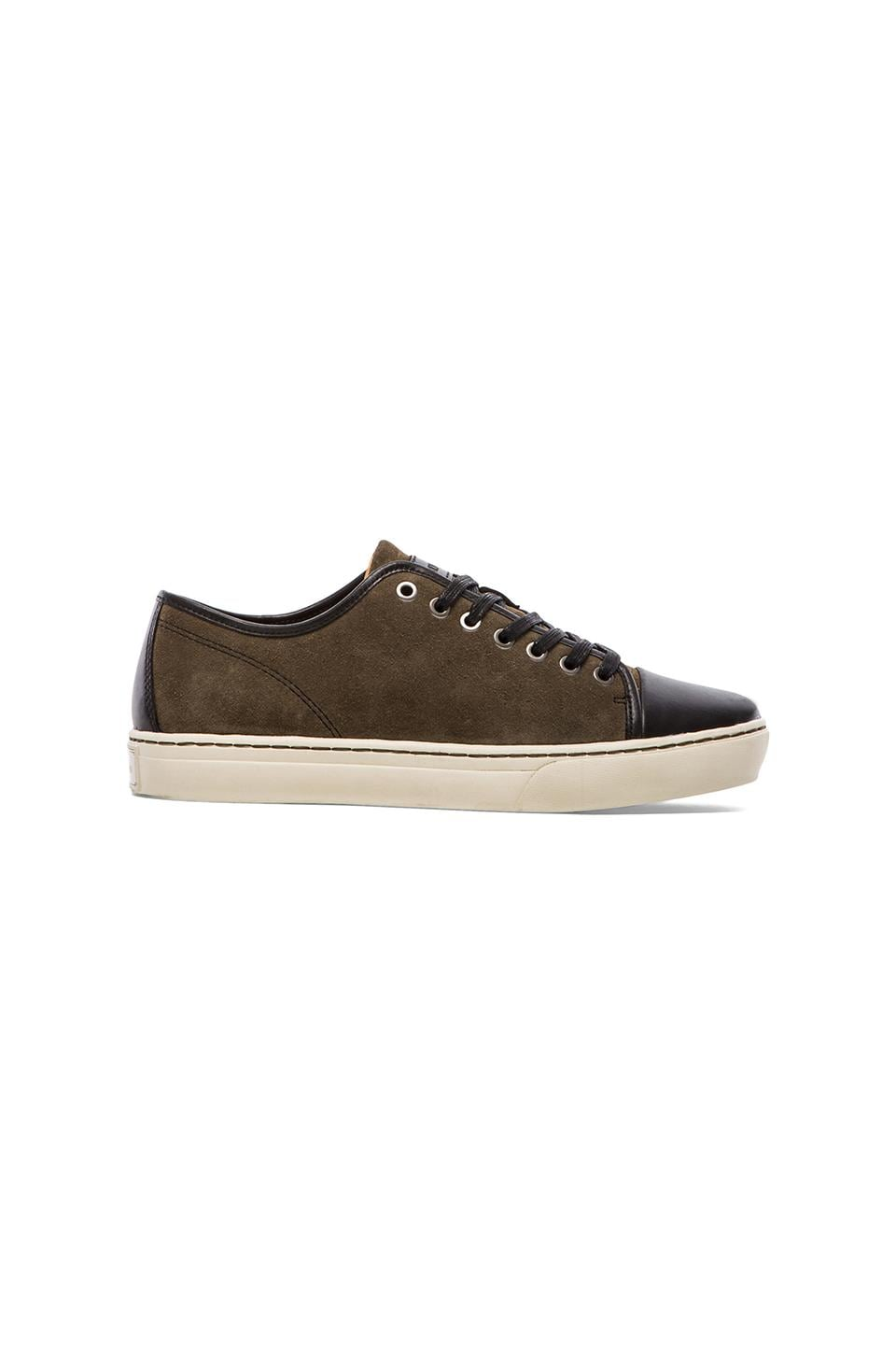 Abington Lightweight Guide Ox Sneaker in Olive Suede w/ Black