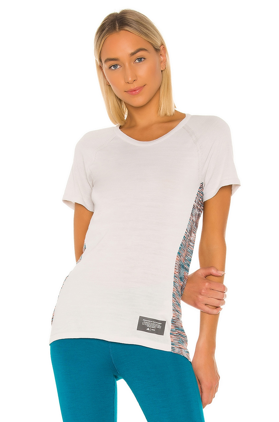 adidas by MISSONI Crew Tee in White, Active Orange & Active Teal