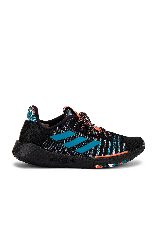 adidas by MISSONI Pulseboost HD Sneaker in Core Black, White & Active Orange