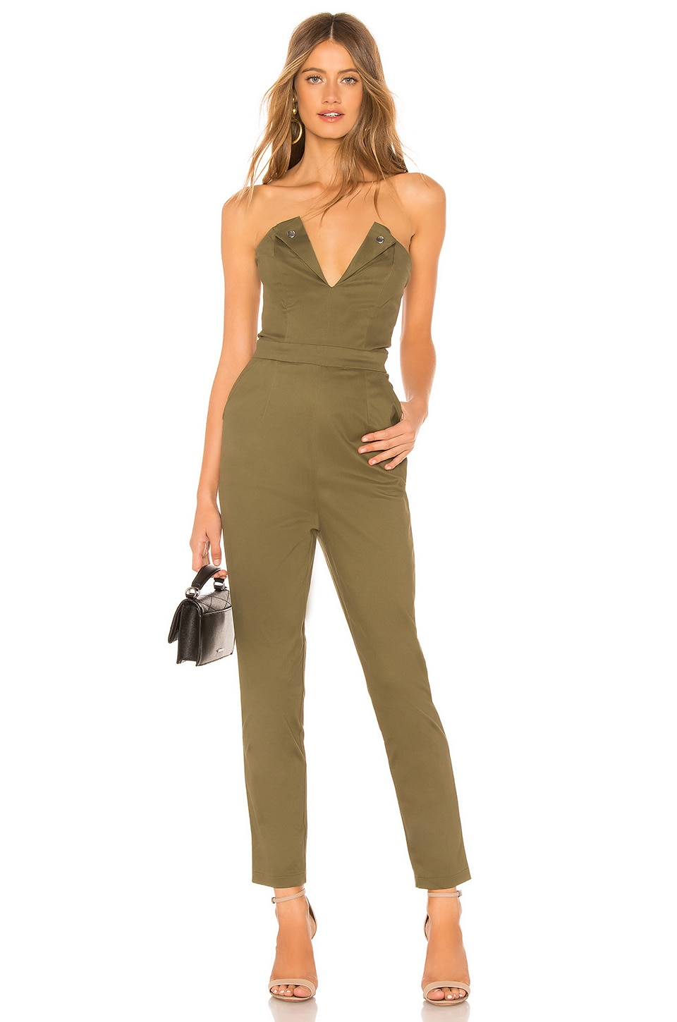 About Us Talia Strapless Jumpsuit in Army Green
