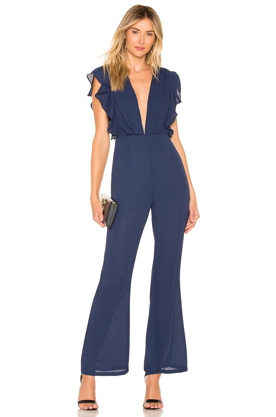 About Us Arina Ruffled Jumpsuit in Navy
