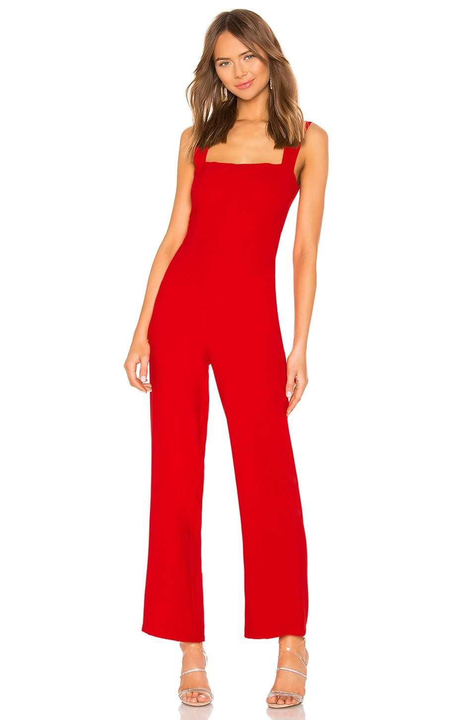 superdown Karolyn Square Neck Jumpsuit in Red