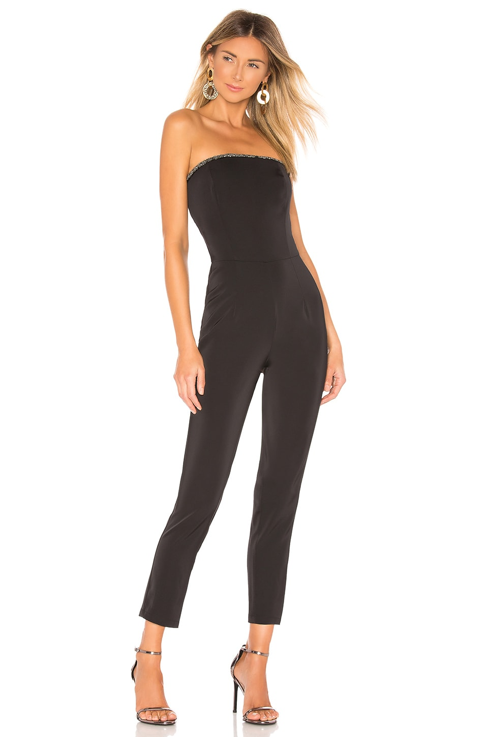 About Us Allison Beaded Strapless Jumpsuit
