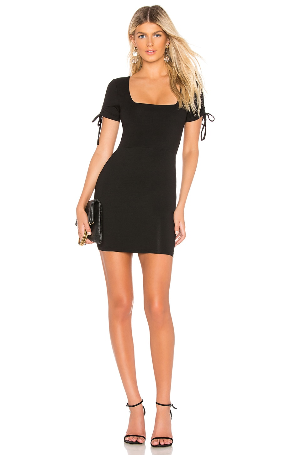 About Us Olivia Tie Sleeve Dress in Black