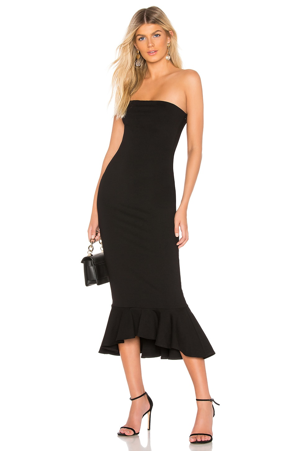 superdown Izzy Ruffle Maxi Dress in Black