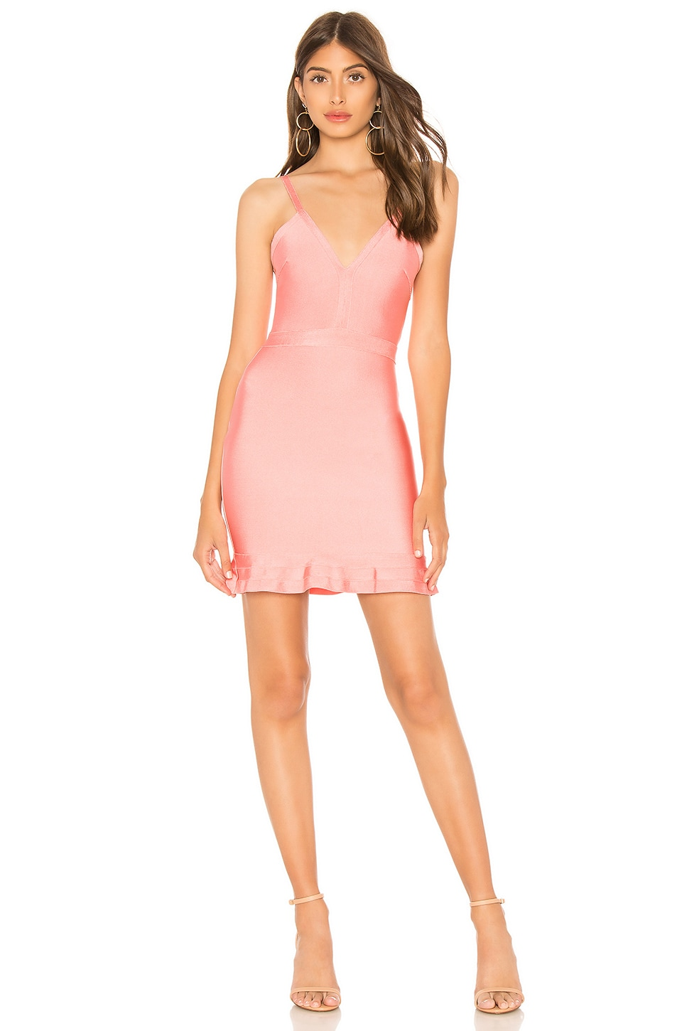 About Us Marin Ruffle Bandage Mini Dress in Pink