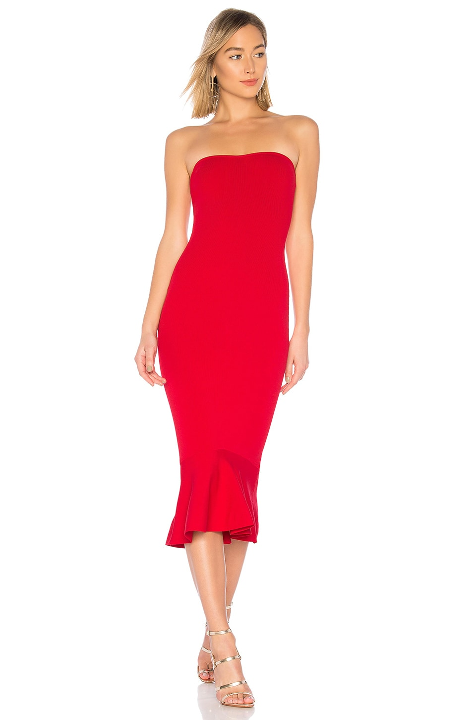 About Us Julia Ruffle Hem Dress in Red