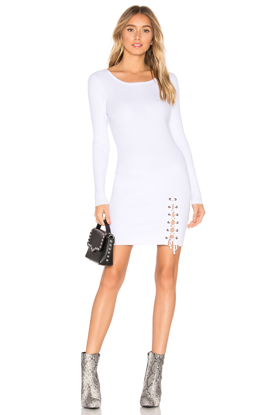 About Us Kaedyn Knit Dress in White