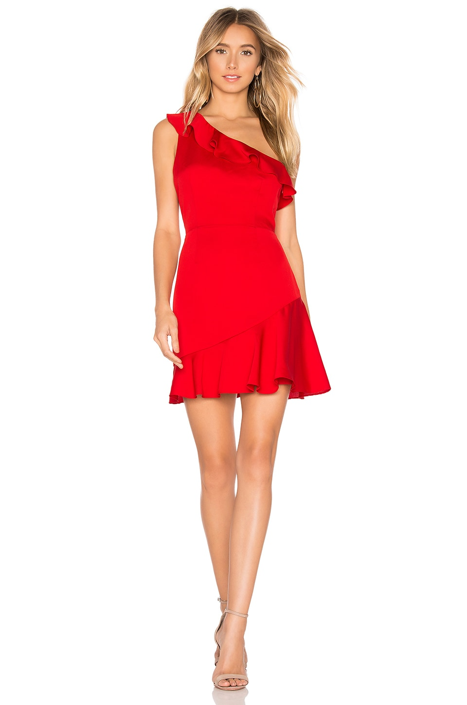 About Us Kloe Ruffle Mini Dress in Red