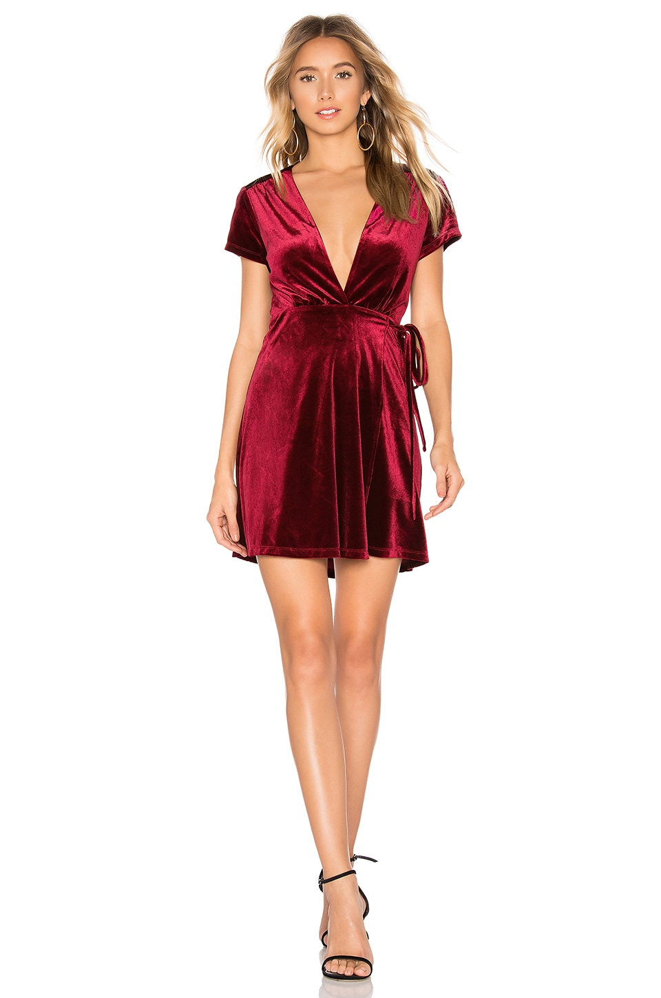 About Us Gabrielle Wrap Mini Dress in Wine