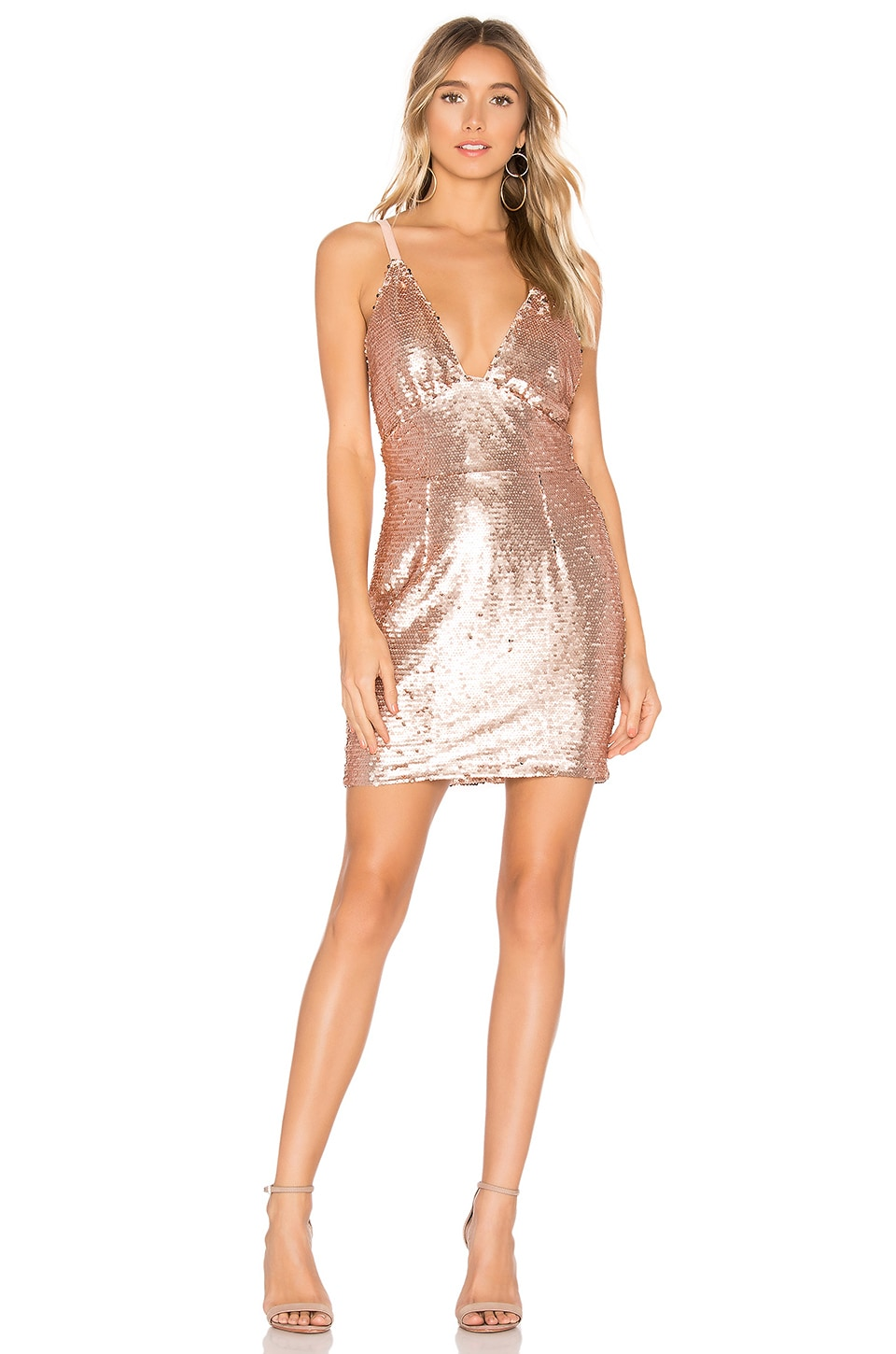About Us Bethany Sequin Dress in Rosegold