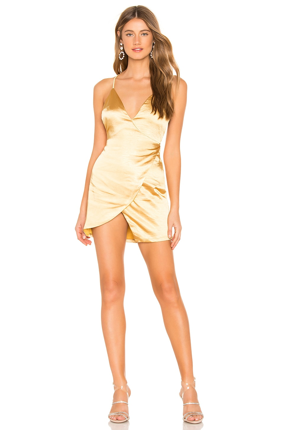 About Us Catalina Wrap Mini Dress in Gold